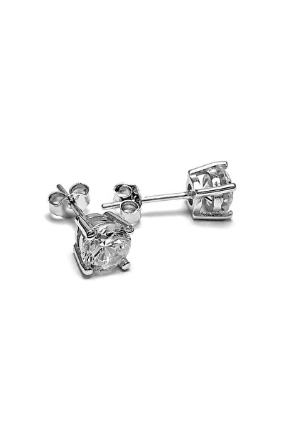 Doğan Silver Kadın Gümüş Mini Tek Taş Küpe Dgn20502