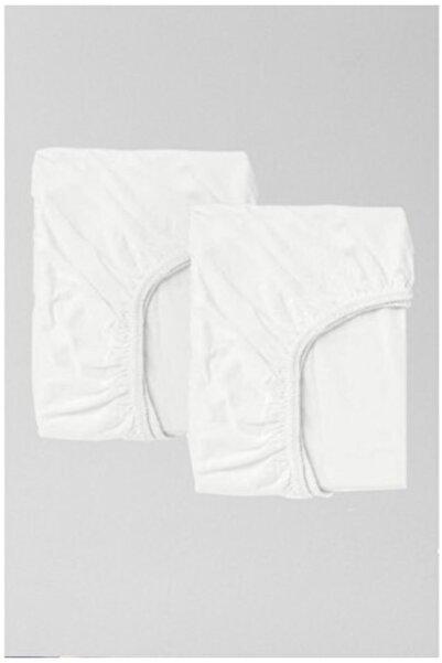 Eflatun 2'li Pamuklu Ve Lastikli 70x140 Cm Penye Beyaz Bebek Çarşaf