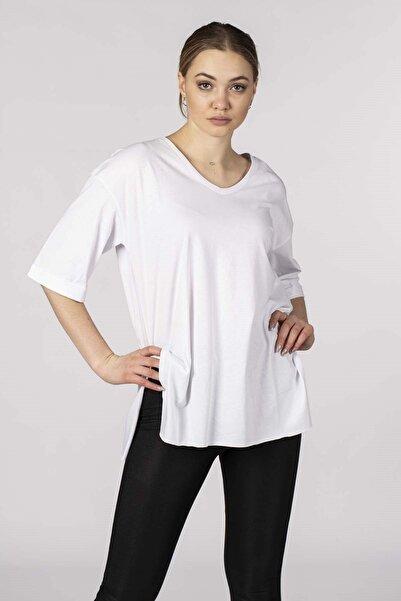 BARRELS AND OIL Kadın Beyaz Basic Salaş Double Kol T-Shirt 729-20Y13008.55