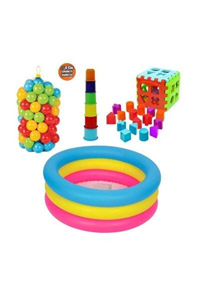 ALTIS Activeshop Eğitici Bebek Oyuncakları Seti Şişme Havuz 86cm - Top - Bultak - Mini Kule