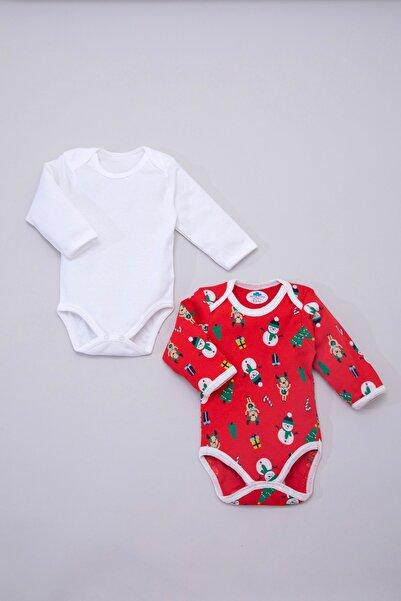 Sema Baby Unisex Bebek Kırmızı Beyaz Kardanadam Yılbaşı  Uzun Kollu İkili Body Sb-1000