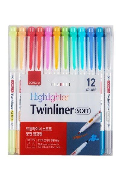 Dong-A Twinliner Soft Fosforlu Kalem 12'li Set - Çift Taraflı