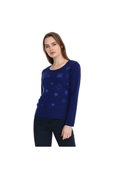 Solo Kristal Taş Hotfix Yıldız Işlemeli Bluz Italyan Yün