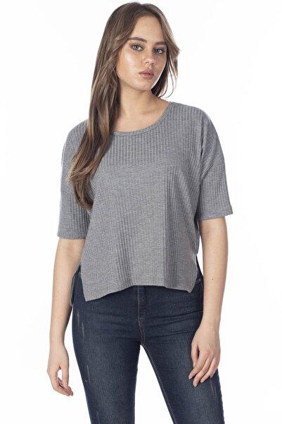 BARRELS AND OIL Kadın Antrasit Eteği Yırtmaçlı Salaş  T-Shirt