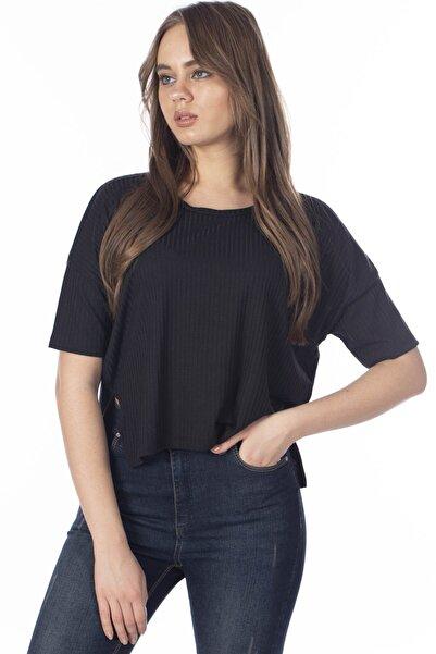 BARRELS AND OIL Kadın Siyah Eteği Yırtmaçlı Salaş  T-Shirt