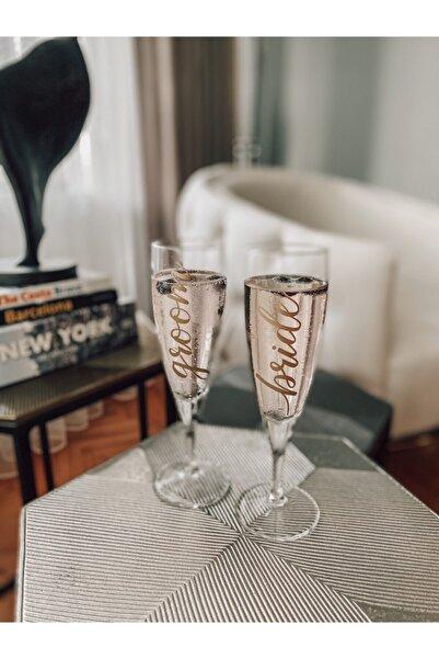 The Bride Pack 2'li Bride Ve Groom Gold Baskı Detaylı Cam Şampanya Kadeh Takımı
