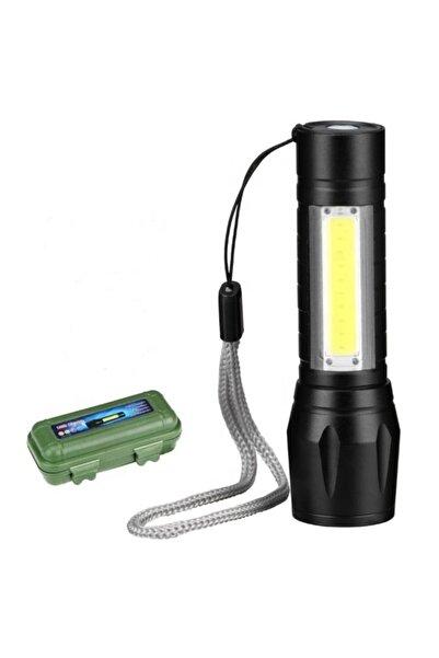 gaman Usb Şarjlı Mini El Feneri 2mod +yan Led 3w Çakarlı Q5 Alüminyum Kutulu