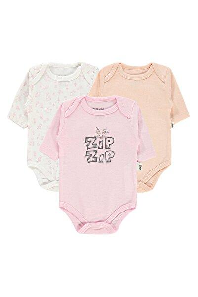 Civil Baby Kız Bebek 3'lü Çıtçıtlı Badi 0-24 Ay Pembe