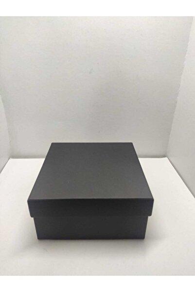 Hediye Kutusu Siyah Kare Kutu Hediyelik Takılık 16x16