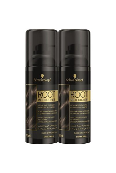 SCHWARZKOPF HAIR MASCARA Schwarzkopf Root Retoucher Beyazları Anında Kapatan Siyah Sprey Boya 120 ml X 2 Adet