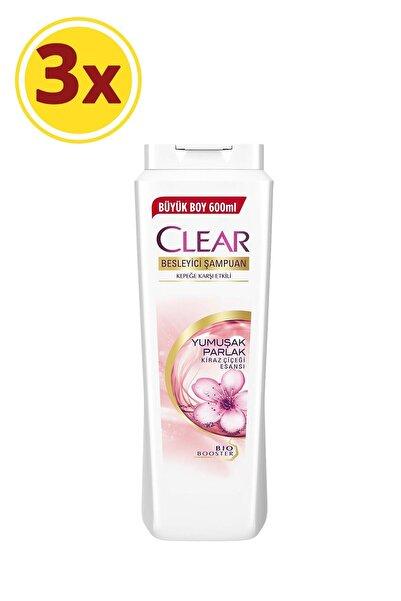Clear Yumuşak Parlak Kiraz Çiçeği Kadın Şampuan 600 ml X3