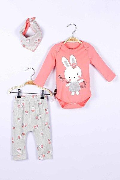 Miniworld Kız Bebek Pembe Badi Pantolon Şapka 3lü Takım 14522