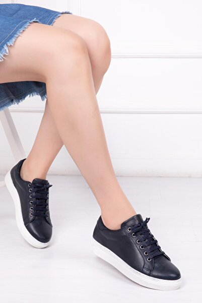 Deripabuc Hakiki Deri Lacivert Kadın Deri Sneaker Vns-m010