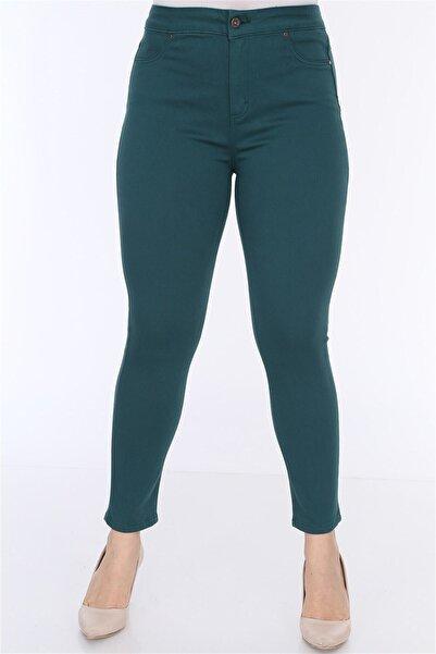 RMG Kadın Yeşil Cep Detaylı Büyük Beden Pamuk Pantolon