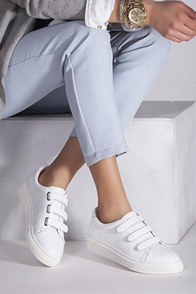 Deripabuc Hakiki Deri Beyaz Kadın Deri Sneaker Trc-0673