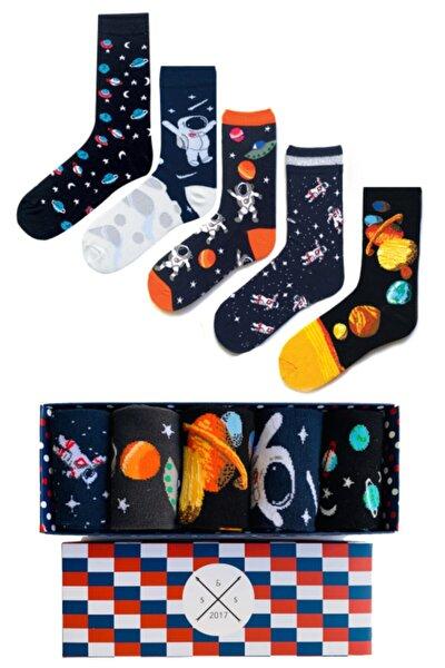 Socks Stations Unisex Renkli 5'li Uzay Ve Astronot Renkli Desenli Çorap Kutusu