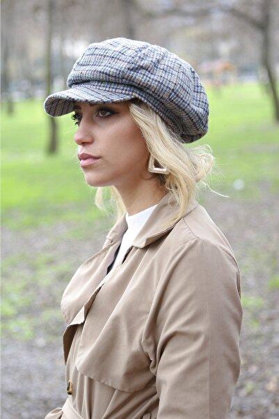 Bay Şapkacı Kadın Yeşil Kareli Kaptan Şapka