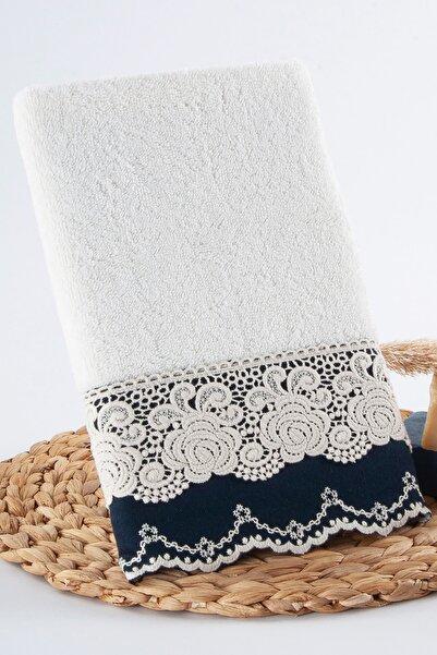 Nazik Home Roza Dantelli ve İşlemeli El Havlusu 30 X 50 cm %100 Pamuk Küçük Havlu