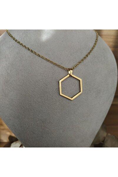 Mammamia Kadın Gold Altıgen Çelik Kolye