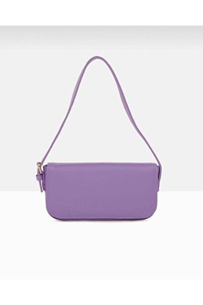 bag&more Kadın Lila Kapaklı Baget Çanta
