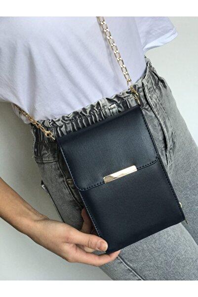 MODEX ÇANTA Kadın Siyah Gold Zincir Askılı Deri Cüzdan Ve Cep Telefon Çantası