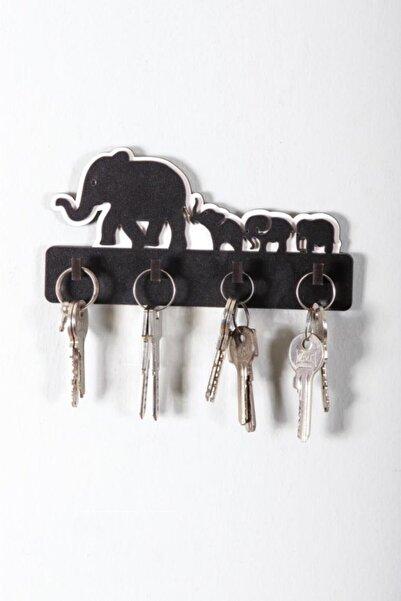 CajuArt Dekoratif Sevimli Filler Ahşap Anahtar Askısı Anahtarlık