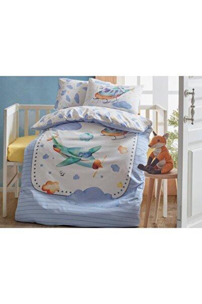 Çeyiz Diyarı Cottonbox Air Plane Bebek Nevresim Takımı Mavi