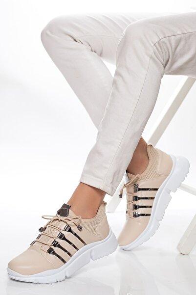 derithy Kadın Bej Sneaker