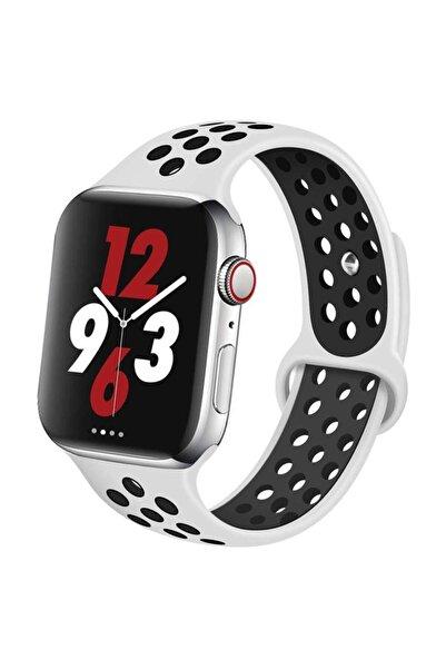 Robotekno Apple Watch Silikon Delikli Kordon Iwatch Uyumlu Kayış Seri 42mm/44mm - Beyaz Siyah