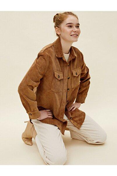 Koton Kadın Kahverengi Gömlek Yaka Fitilli Kadife Ceket