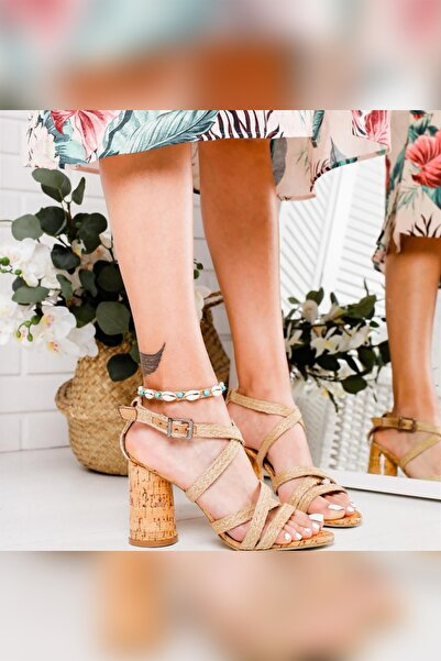 Limoya Kadın Bej Gerçek Hasır Oval Ökçeli Mantar Topuklu Ayakkabı