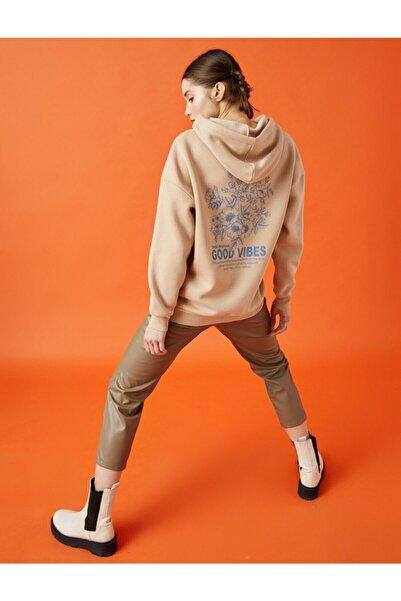 Koton Kadın Ekru Kapüşonlu Pamuklu Sweatshirt