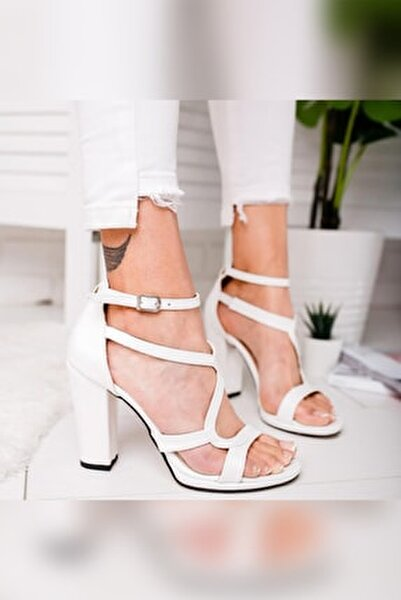 Kadın Beyaz Deri Platformlu Kalın Topuklu Ayakkabı