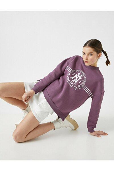 Koton Kadın Mor Pamuklu Sweatshirt
