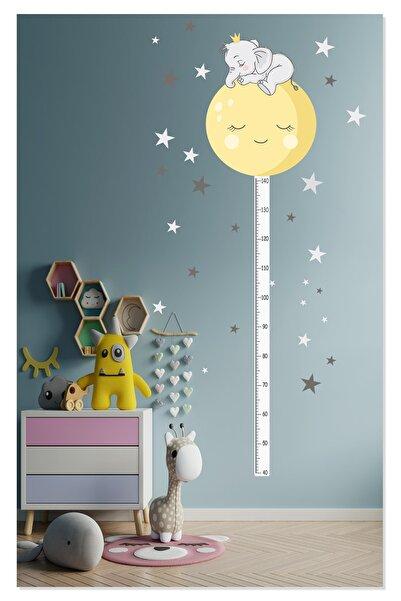 Sticker Sepetim Sevimli Uyuyan Fil Ve Ay Boy Ölçer Çocuk Odası Duvar Sticker