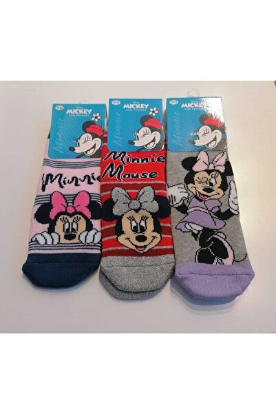 Minnie Mouse Disney Mickey And Friends 3'lü Havlu Soket Çorap