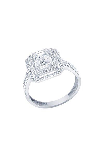 Diamond Line-Gülaylar Beyaz Altın 14 Ayar Baget Taşlı Yüzük