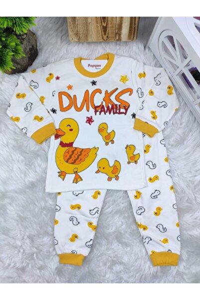 Papyon Baby Kids Unisex Bebek Beyaz Süpermini Ördek Baskılı Penye Pijama Takımı 3-4-5 Yaş