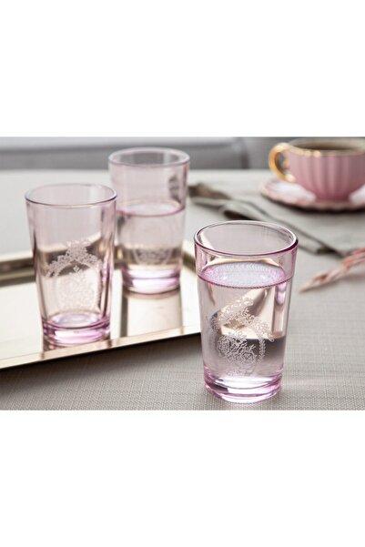 English Home Pembe Fancy Cam 6'lı Kahve Yanı Su Bardağı 100 ml