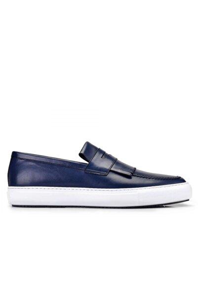 Nevzat Onay Erkek Hakiki Deri Lacivert Sneaker Ayakkabı -10814-