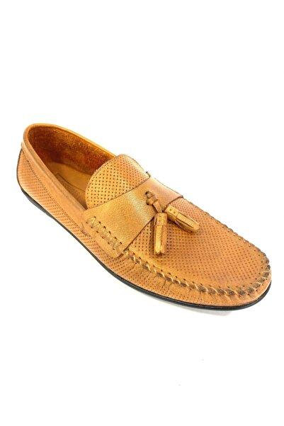 BAGSSHOES Erkek Turuncu Hakiki Deri Loafer Ayakkabı 5013