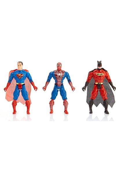 SPIDERMAN Süper Kahramanlar 3 Lü Set Süpermen Batman Spiderman Örümcek Adam