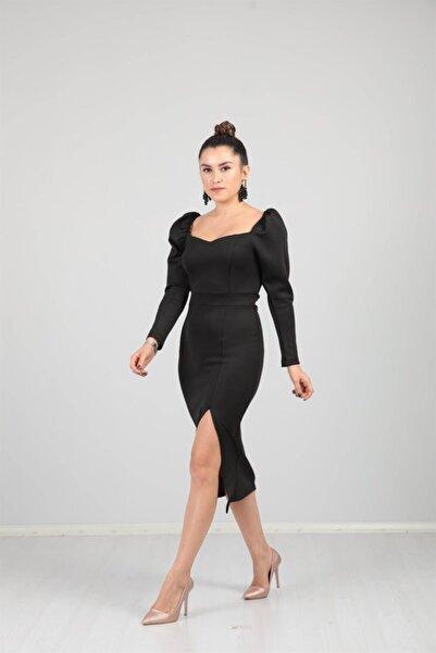 giyimmasalı Scuba Kumaş Yırtmaç Detaylı Elbise - Siyah