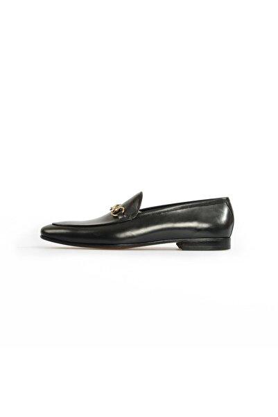 Flower Siyah Deri Tokalı Klasik Ayakkabı