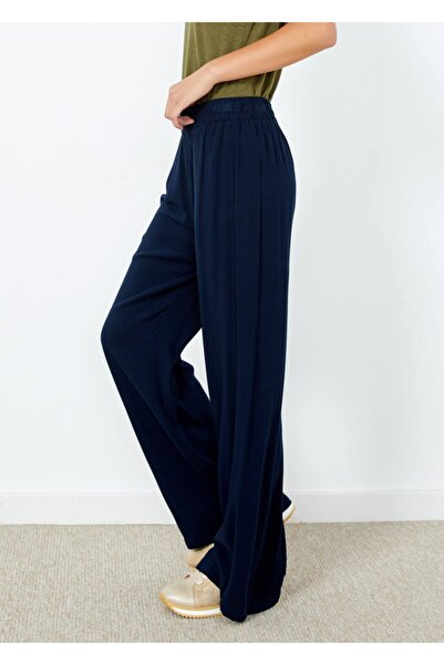 Adze Kadın Lacivert Bol Paça Ince Pantolon Laci Xl