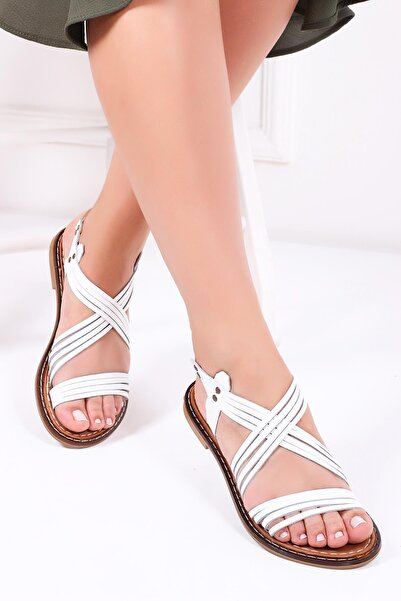 Deripabuc Hakiki Deri Beyaz Kadın Deri Sandalet Dp28-0863
