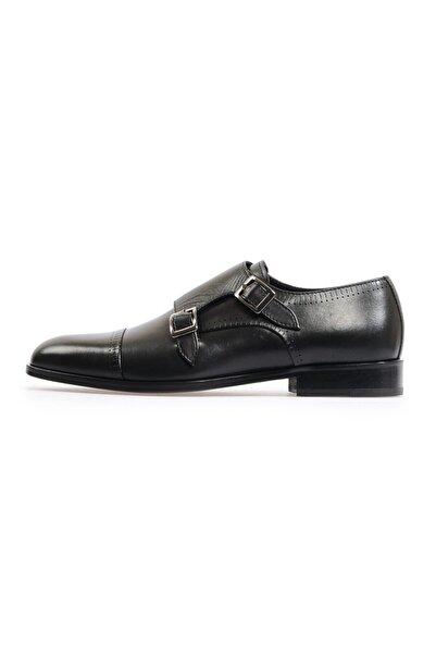 Flower Siyah Çift Tokalı Klasik Ayakkabı