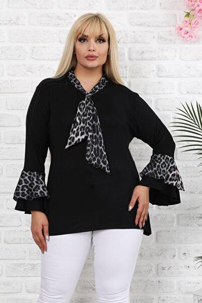 1fazlası Siyah Leopar Desenli Saten Şallı Ispanyol Kol Bluz