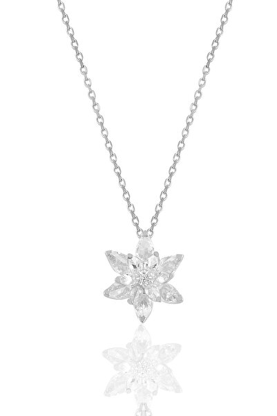 Söğütlü Silver Gümüş Rodyumlu Taşlı Nilüfer Lotus Çiçeği Kolye