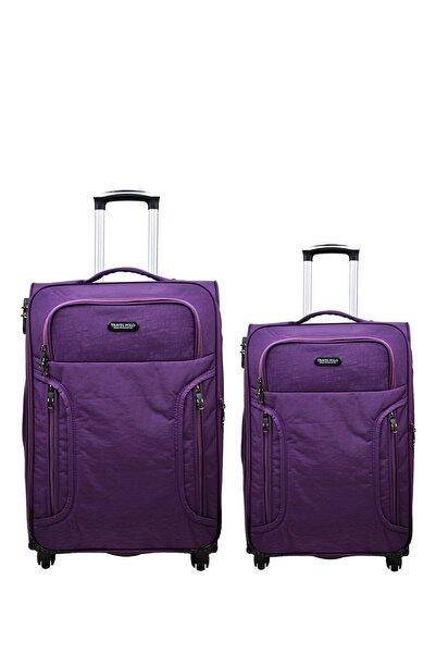 Anka 2'li Valiz Seti Travel Polo Krinkıl Kumaş Orta Boy Ve Kabin Boy Mor 2'li Set